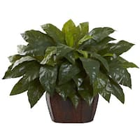 Nearly Natural Brown Giant Bird's Nest Fern with Decorative Planter