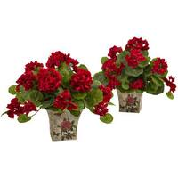 Nearly Natural Geranium Flowering Silk Plant with Floral Planter (Set of 2)