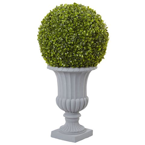 Green 2.5-foot Artificial Boxwood Topiary and Urn