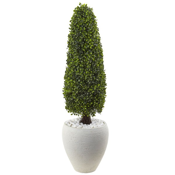 Nearly Natural Boxwood Topiary with UV-resistant Textured White Planter