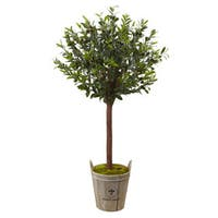 Nearly Natural Olive Topiary Tree with European Barrel Planter