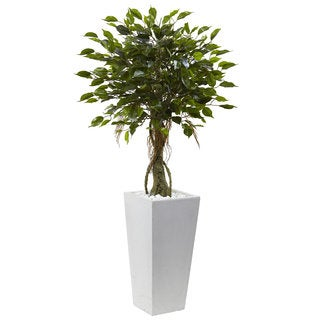 Nearly Natural 52-inch Ficus Tree with White Planter