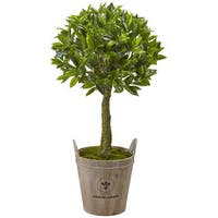 Nearly Natural 38-inch Sweet Bay Topiary with European Barrel Planter