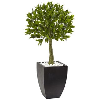 Nearly Natural Bay Leaf Topiary with Black Planter
