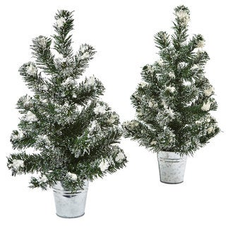 Nearly Natural Snowy Pine Tree with Tin (Set of 2)
