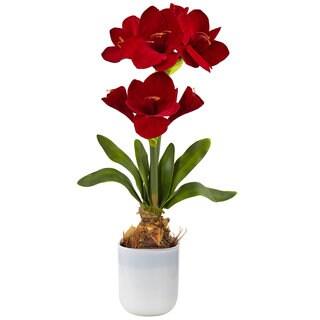 Nearly Natural Red Silk Amaryllis Floral Arrangement
