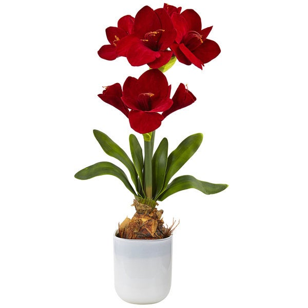 Nearly Natural Red Silk Amaryllis Floral Arrangement