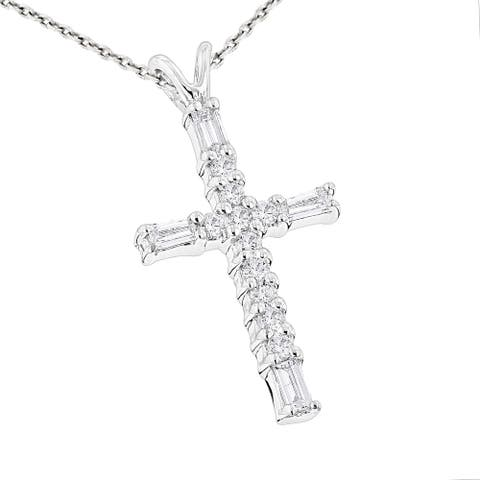 Luxurman 14k Gold 1/3ct TDW Baguette and Round Diamond Cross Necklace