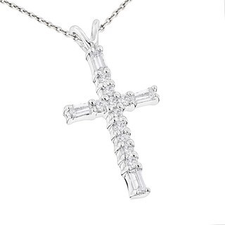 Luxurman 14k Gold 1 3ct TDW Baguette And Round Diamond Cross Necklace