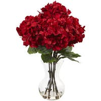 Nearly Natural Red Silk Hydrangea Flower Arrangement with Vase