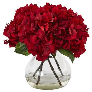 Nearly Natural Red Faux Hydrangea Arrangement With Glass Vase
