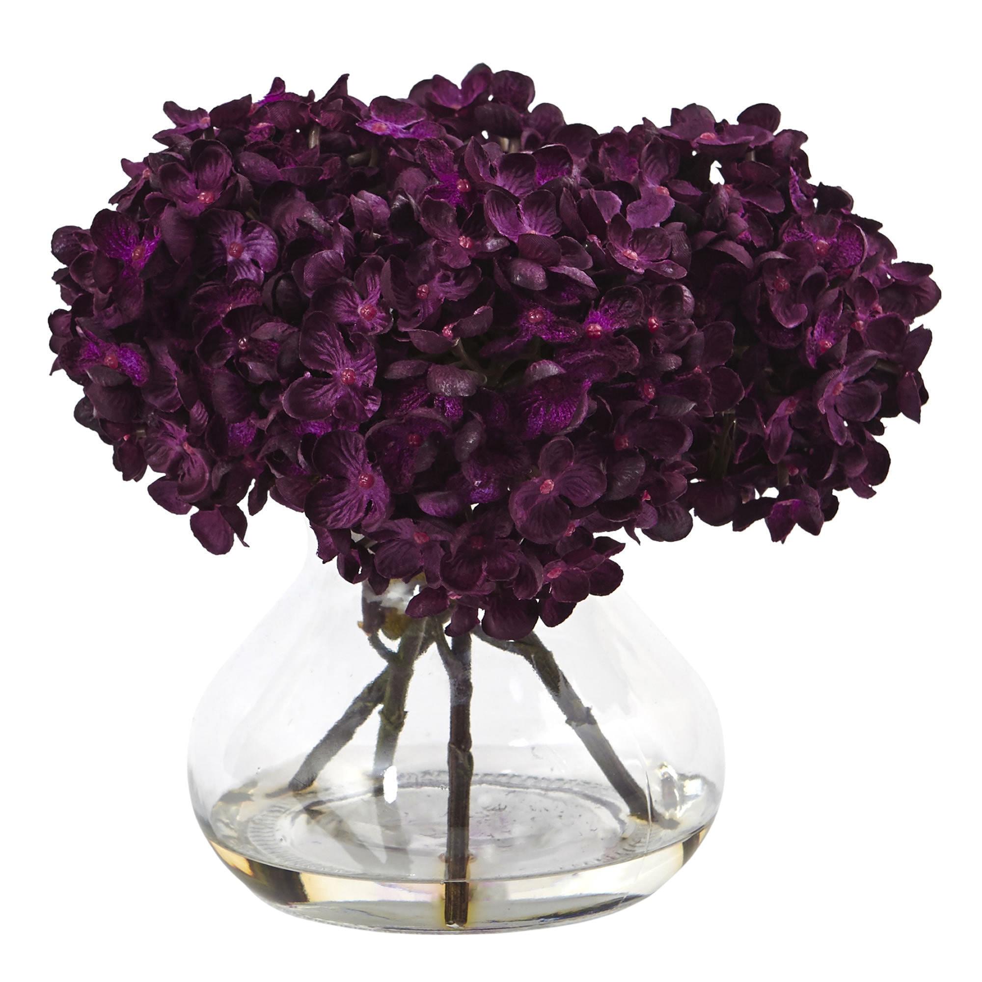 Nearly Natural Hydrangea with Vase Silk Flower Arrangemen...