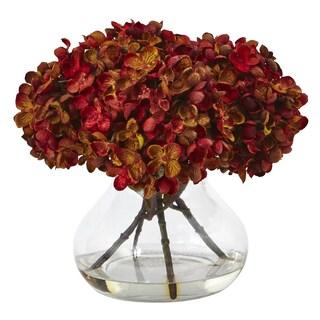 Nearly Natural Hydrangea with Vase Silk Flower Arrangement (Option: Red)