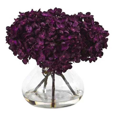 Nearly Natural Hydrangea with Vase Silk Flower Arrangement