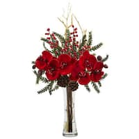 Nearly Natural Red Silk Mixed Orchid Holiday Arrangement with Glass Vase