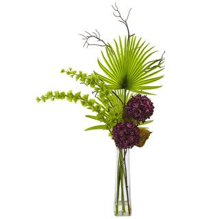 Hydrangea, Bells Of Ireland and Palm Frond Arrangement in Clear Vase