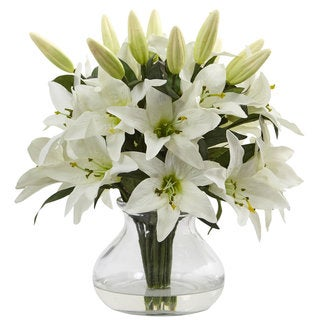 Link to Nearly Natural White Faux Lily Arrangement with Clear Glass Vase Similar Items in Decorative Accessories