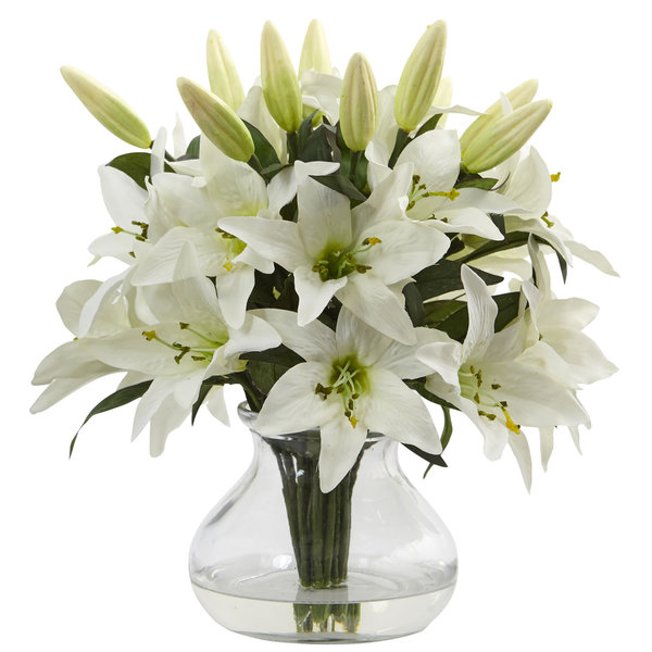 Nearly Natural White Faux Lily Arrangement with Clear Glass Vase. Opens flyout.