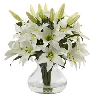 Nearly Natural White Faux Lily Arrangement With Clear Glass Vase