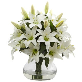 Nearly Natural Large Lily Arrangement in Vase