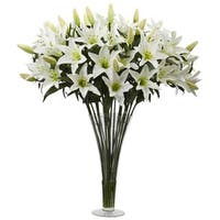 Silk Lily Arrangement With Flared Vase