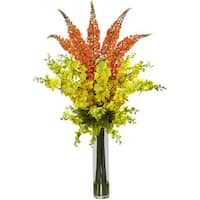 Nearly Natural Delphinium/ Foxtail Multicolored Silk Floral Arrangement - Yellow