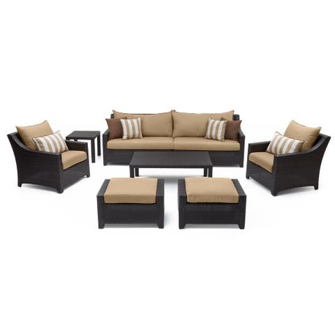 RST Brands Deco Maxim Beige Sunbrella and Resin Wicker 8-piece Sofa and Club Chair Set