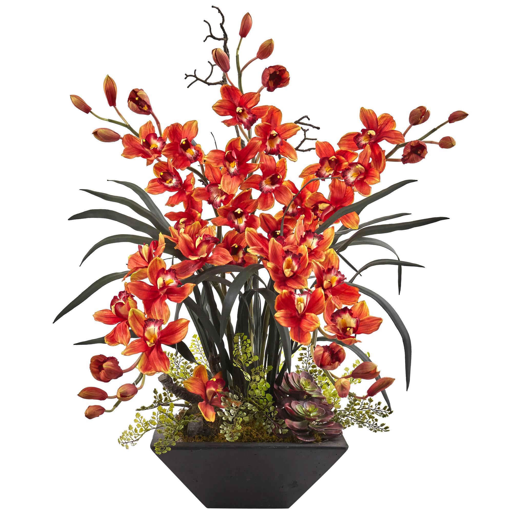 Nearly Natural Cymbidium Orchid with Black Vase Arrangeme...
