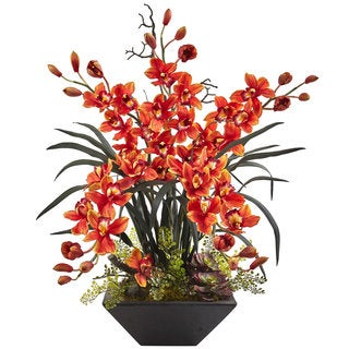 Nearly Natural Cymbidium Orchid with Black Vase Arrangement