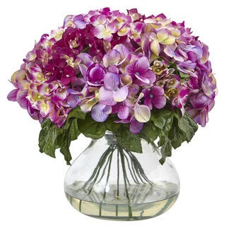 Nearly Natural Purple Faux-silk Hydrangea Floral Arrangement