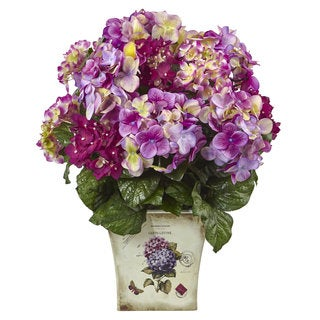 Nearly Natural Blue, Purple, White Hydrangea with Floral Planter