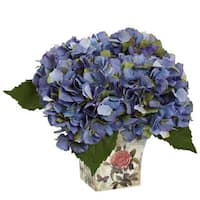 Nearly Natural Faux Hydrangea With Floral Planter