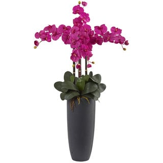 Nearly Natural Phalaenopsis Orchid Arrangement with Bullet Planter