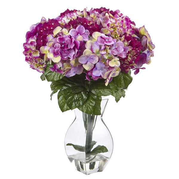 Shop nearly natural purple hydrangea silk flowers with glass vase nearly natural purple hydrangea silk flowers with glass vase mightylinksfo