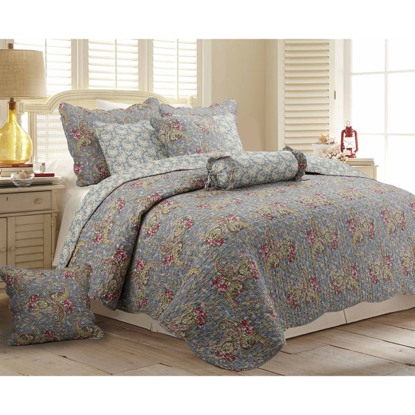 Copper Grove Anthurium Floral Paisley Cotton 3-piece Quilt Set
