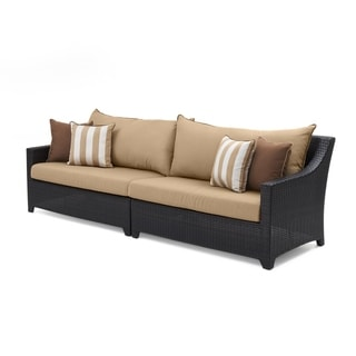 Link to RST Brands Maxim Beige Aluminum Wicker Deco Outdoor Sofa Similar Items in Outdoor Loveseat