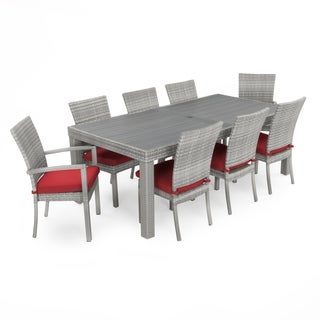 RST Brands Cannes Sunset Red Aluminum/Wicker/Sunbrella Fabric 9-piece Dining Set