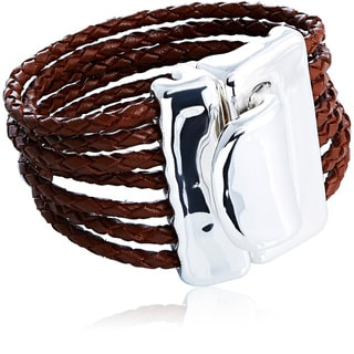 Silver Chunky Hook Braided Leather Cord Magnet Bracelet (Israel)