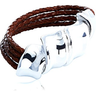 Silver Twist Leather Cord Magnet Bracelet (Israel)