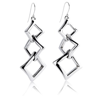 Silver Abstract Stack Hook Earrings (Israel)