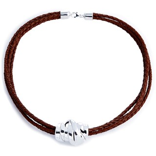 Silver Wigit Leather Cord Slide Necklace (Israel)