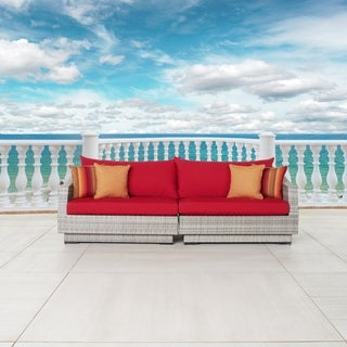 RST Brands Cannes Sunset Red Sunbrella and Resin Wicker Sofa