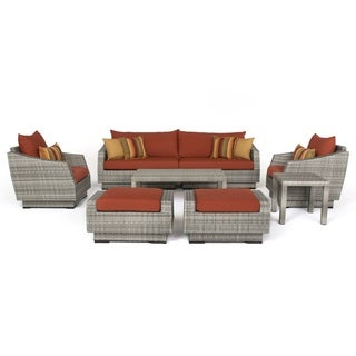 RST Brands Cannes Sunset Red Aluminum/Wicker/Sunbrella 8-piece Sofa and Club Chair Set