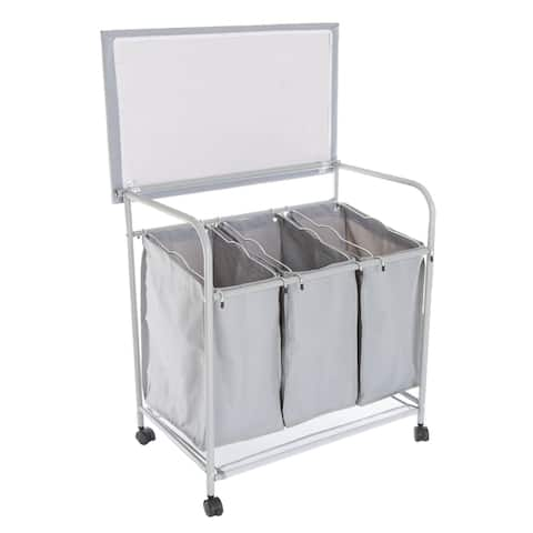 Lavish Home Rolling 3 Bin Laundry Sorter and Ironing Station - Gray - 29.5 x 18 x 29.5
