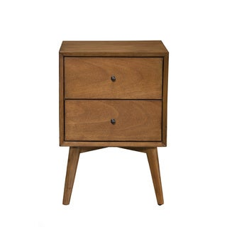 Alpine Flynn Mid-century Wood/Veneer 2-drawer Nightstand
