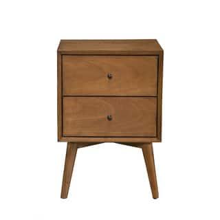 Strick Bolton Marsalis Mid Century Wood Veneer 2 Drawer Nightstand