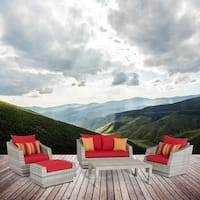 RST Brands Cannes Sunset Red Sunbrella and Resin Wicker 5-piece Loveseat and Club Chair Set