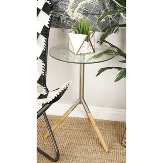 Benzara Stainless-steel and Wood Side Table