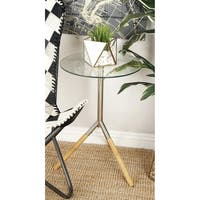 Studio 350 Stainless Steel Wood Glass Accent Table 17 inches wide, 24 inches high