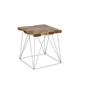 Benzara Teak and Metal Side Table